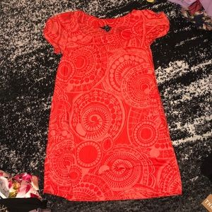 Bright red pattern dress with pockets